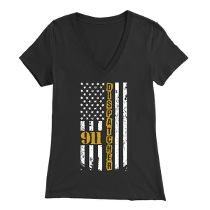 911 Dispatcher Flag - Soft Bella Womens V-Neck