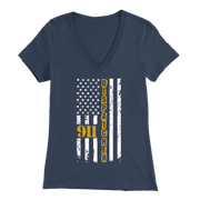 Image of 911 Dispatcher Flag - Soft Bella Womens V-Neck