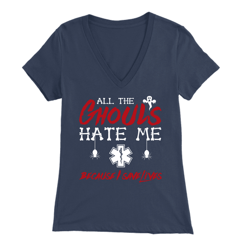All The Ghouls HATE Me - Soft Bella Womens V-Neck