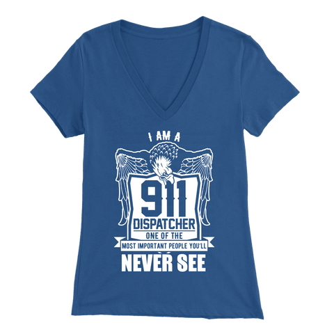 Image of Emergency 911 Dispatcher True First Responders - Soft Bella Womens V-Neck