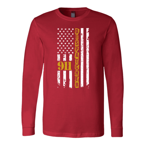 Image of 911 Dispatcher Flag - Soft Canvas Long Sleeve Shirt