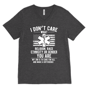 Image of I Don't Care You Are a Paramedic - Canvas Mens V-Neck