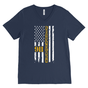 911 Dispatcher Flag - Canvas Mens V-Neck