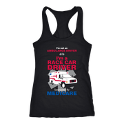 Race Car Driver Sponsored by Medicare - Next Level Racerback Tank