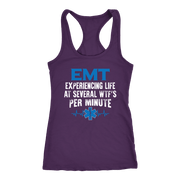 Image of Emt Experiencing Life at Several WTF per Minute - Next Level Racerback Tank