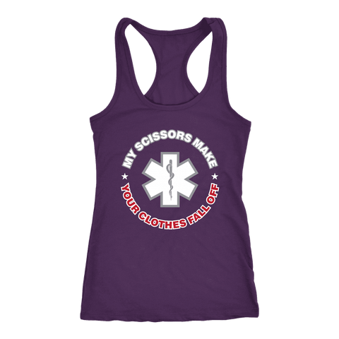 Image of My Scissors Make Your Clothes Fall off - Next Level Racerback Tank