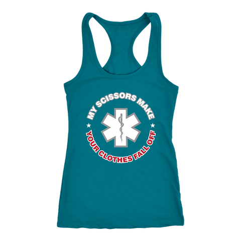 My Scissors Make Your Clothes Fall off - Next Level Racerback Tank