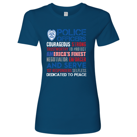 Image of America's Finest - Courageous & Strong Police Support T-Shirt - Womens