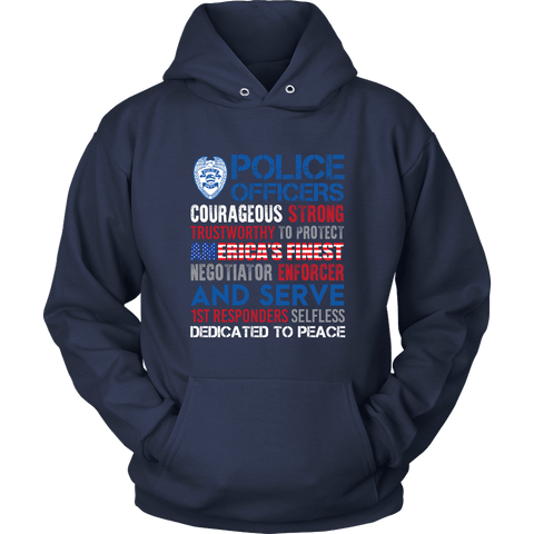 Image of America's Finest - Courageous & Strong Police Support Hoodie