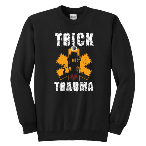 Image of Trick Or Trauma - Soft Youth Crewneck Sweatshirt