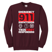 Image of Emergency 911 Dispatchers True First Responders - Soft Youth Crewneck Sweatshirt