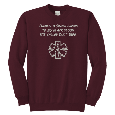 Image of There's A silver Lining To My Black Cloud. It's Called Duct Tape - Soft Youth Crewneck Sweatshirt