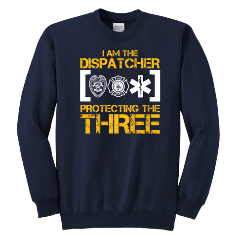 Image of I am The Dispatcher Protecting the Three - Soft Youth Crewneck Sweatshirt