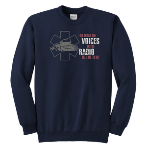 I Do What The Voices On The Radio Tell Me - Soft Youth Crewneck Sweatshirt