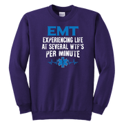 Image of EMT Experiencing Life At Several WTF Per Minute - Soft Youth Crewneck Sweatshirt