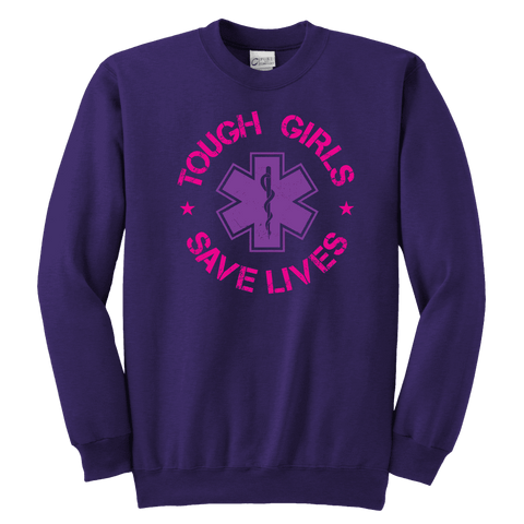 Image of Tough Girls Saves Lives - Soft Youth Crewneck Sweatshirt
