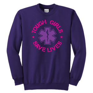 Tough Girls Saves Lives - Soft Youth Crewneck Sweatshirt
