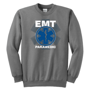 EMT Paramedic Distressed - Soft Youth Crewneck Sweatshirt