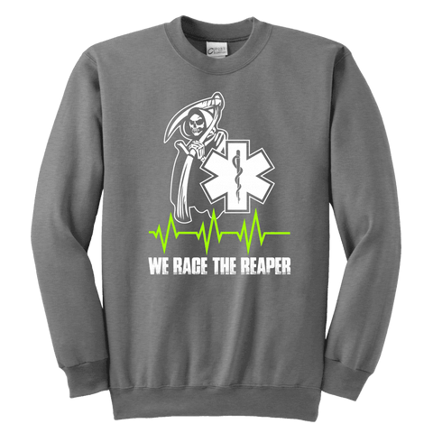 We Race The Reaper-BACK - Soft Youth Crewneck Sweatshirt
