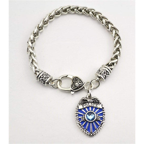 Image of Antique Silver Plated Police Badge Charm Bracelet