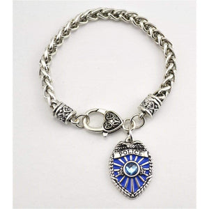 Antique Silver Plated Police Badge Charm Bracelet