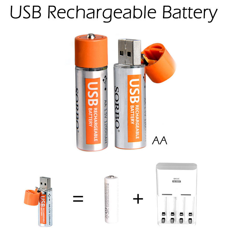 1 PC AA USB Rechargeable Battery 1.5V 1200mAH Li-polymer Micro USB For Charging