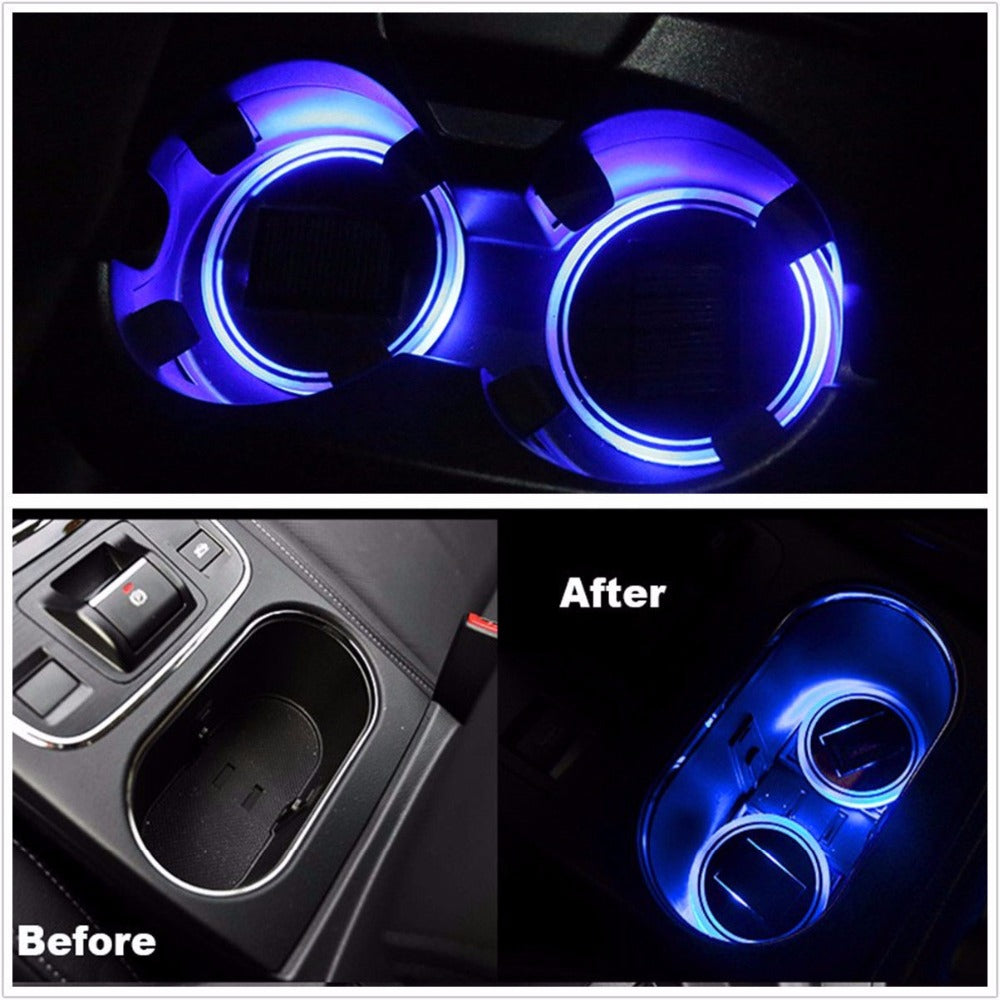 2PCS Solar Powered Cup Holder Bottom Pad with LED Light