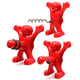 3pcs Happy Man Bottle Opener, Corkscrew, and Bottle Stopper