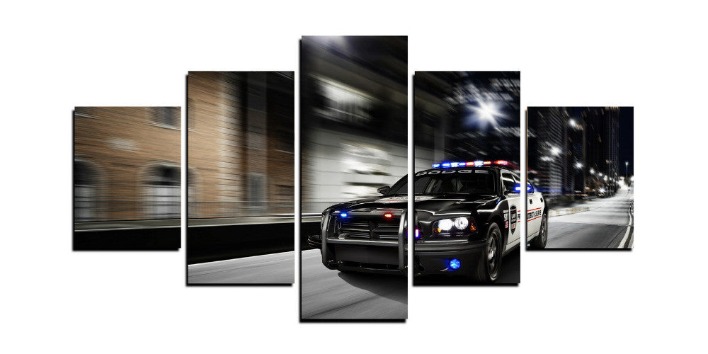 Police Chase 5 Panels Canvas Wall Art