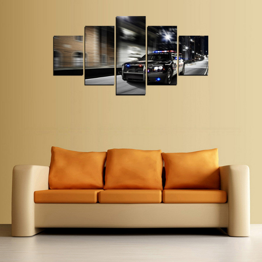 5 Panels Canvas Print Police man Car Painting On Canvas Canvas Wall ...