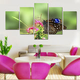 Green Garden Butterfly 5 Pcs Canvas Print Wall Art