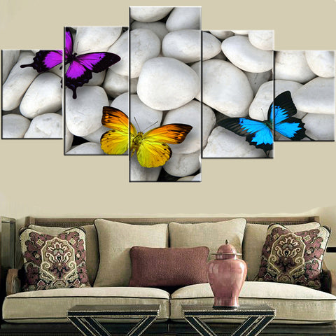 Butterfly And White Stones 5 Pieces Wall Art Canvas Print