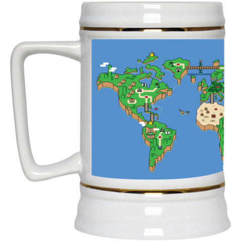 Mario World Map Theme Beer Stein - 22 oz