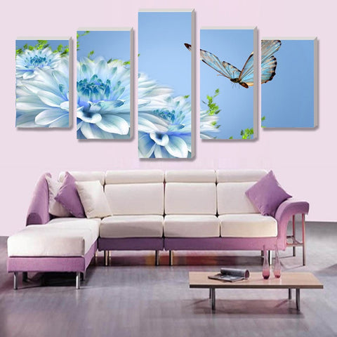 Chrysanthemum And Butterfly 5 Panel Canvas Print Wall Art