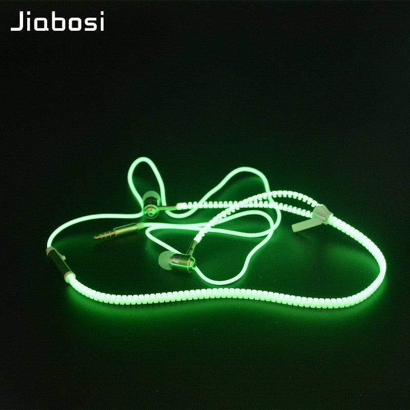 Glowing Luminous Zipper Earphone