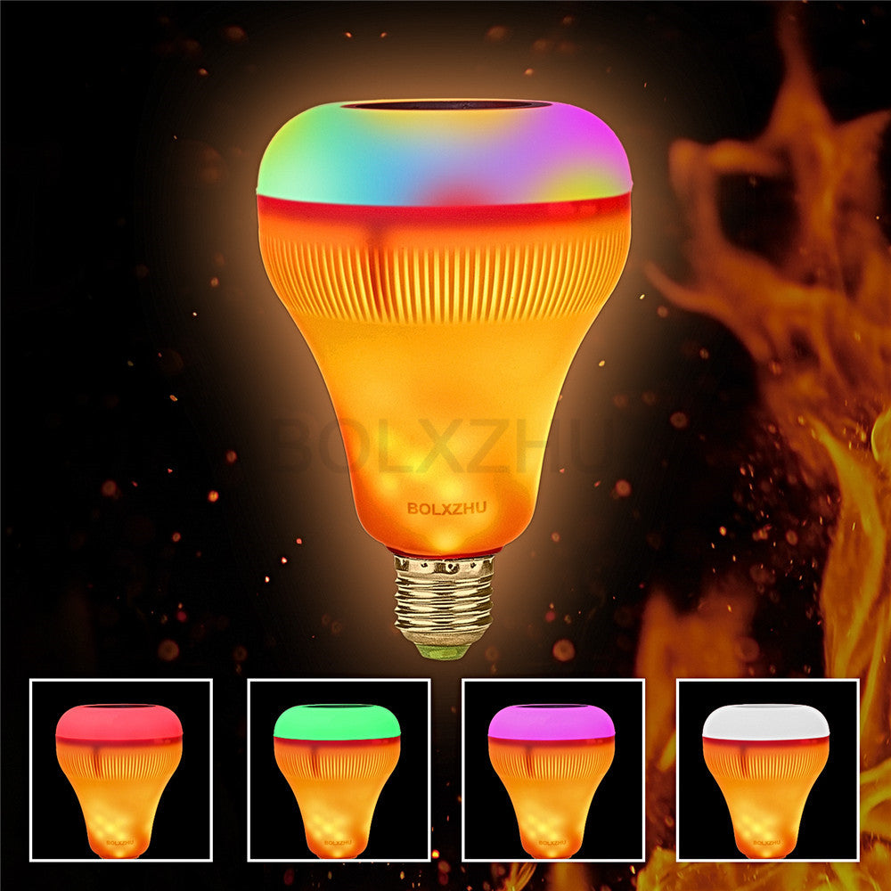 LED Music Speaker Light Bulb with Flame Effect