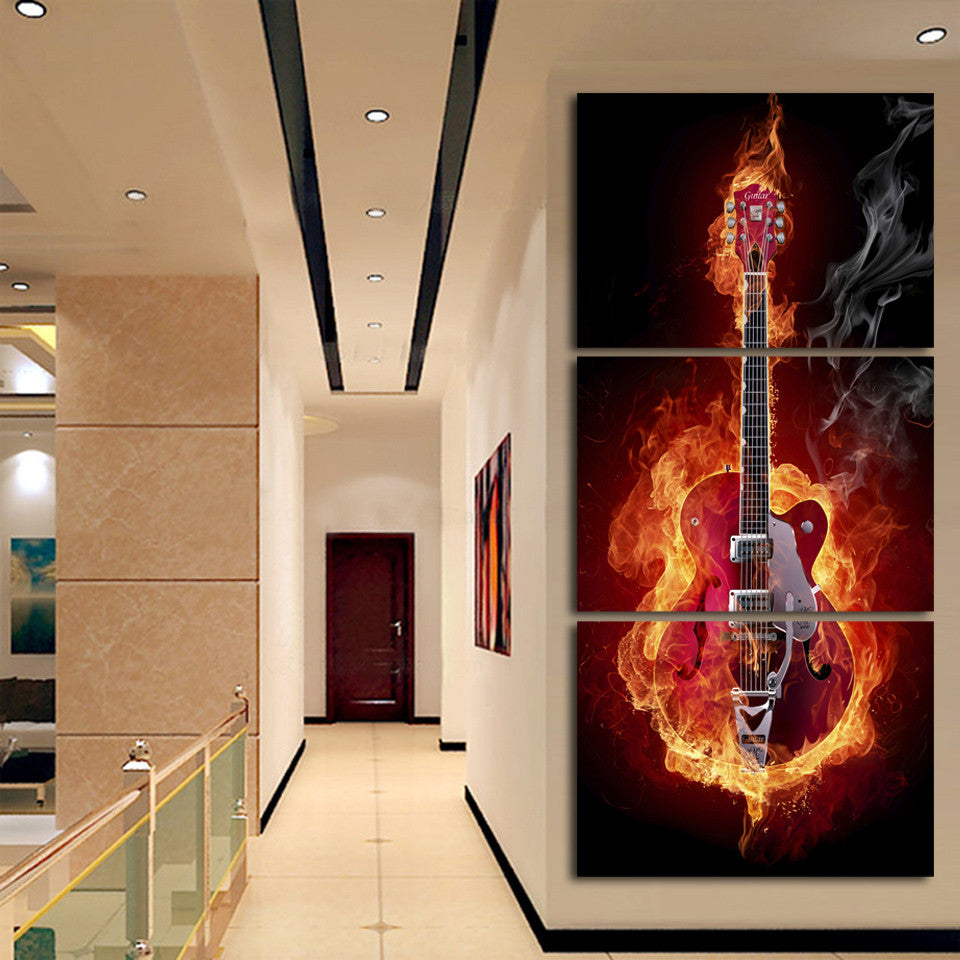 Burning Guitar Canvas Print
