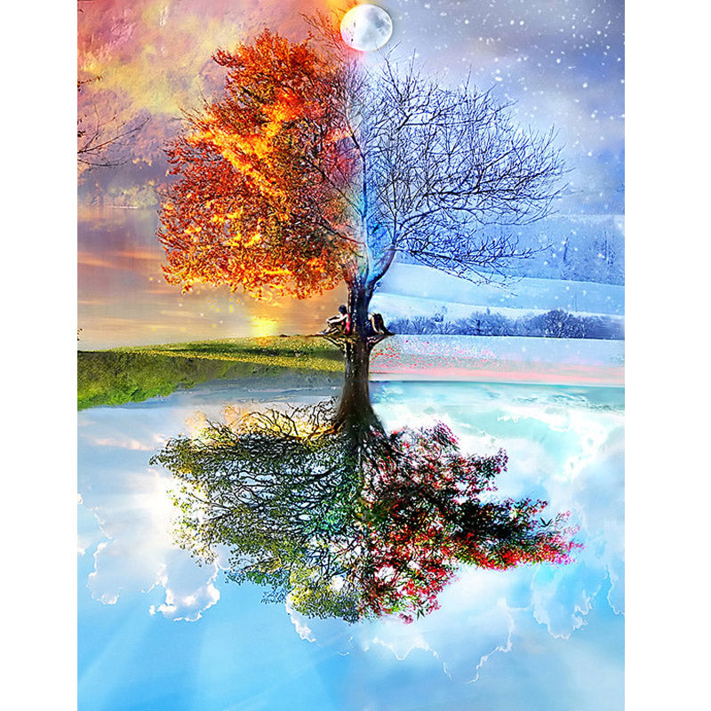 Tree of Fire & Ice 5D DIY Mosaic Pixel Diamond Painting