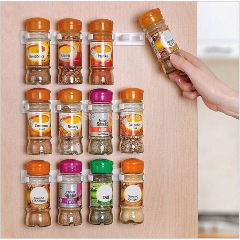 4 Pcs / 20 Clips Spice Rack Storage Organizer