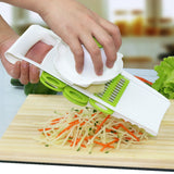 Fruit & Vegetable Slicer with 5 Stainless Steel Blades + Grater