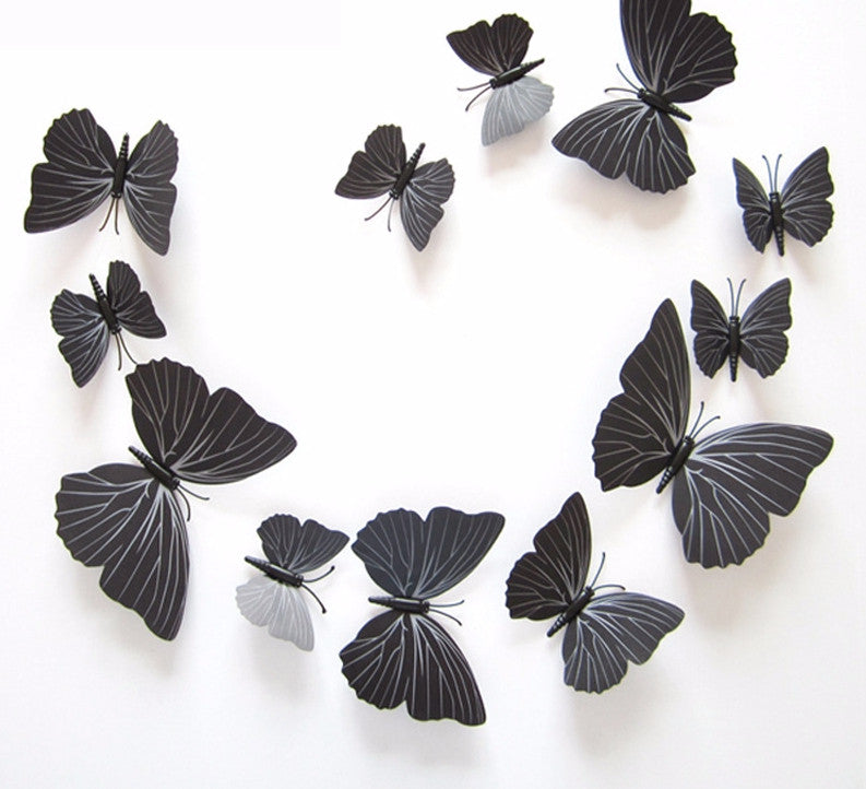 12pcs Charcoal 3D Butterfly Sticker Wall Decals