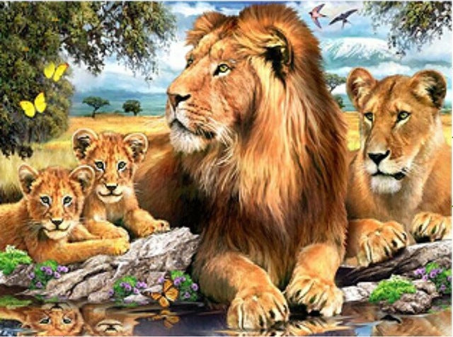 Lion & TIger 5D DIY Mosaic Pixel Diamond Painting KIT