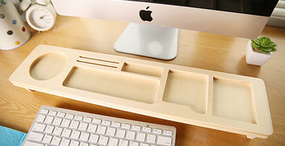Wooden Desktop Organizer Keyboard Storage