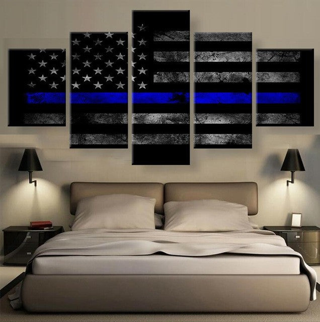 The Thin Blue Line 5 Piece Canvas Print Wall Art