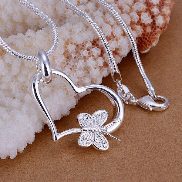 Silver Plated Butterfly Heart Pendant