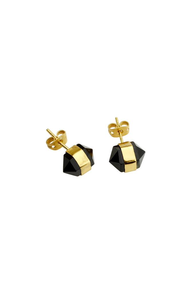 Venus Diamond Studs | Black Spinel