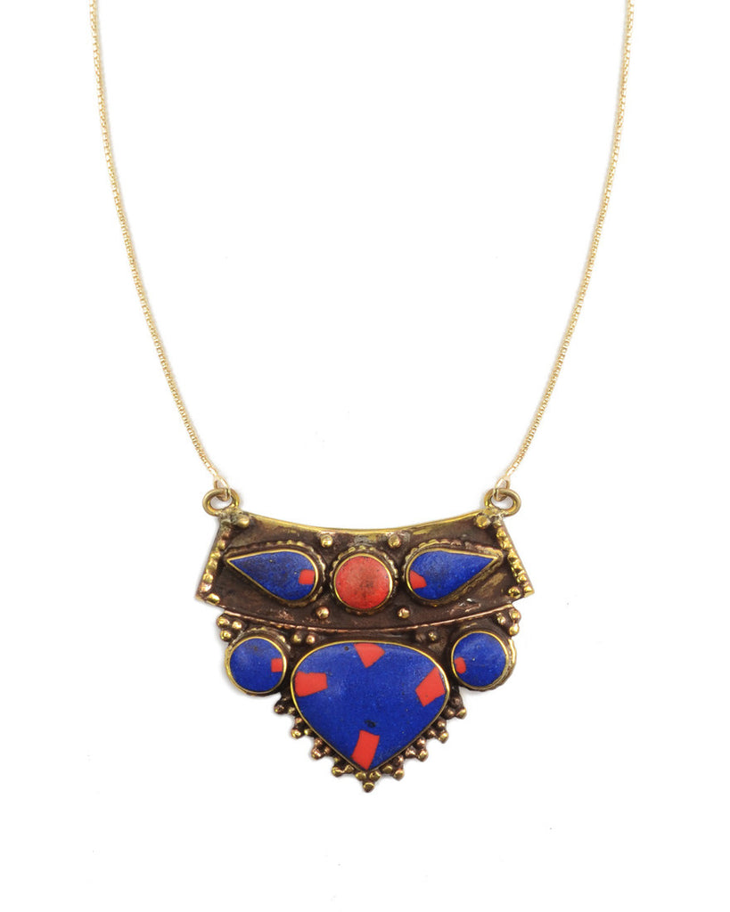 Marfa Necklace | Lapis + Coral