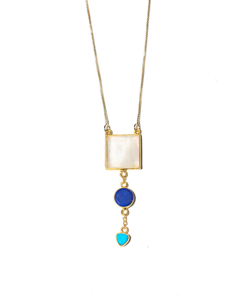 Moon Light Necklace | Turquoise + Lapis