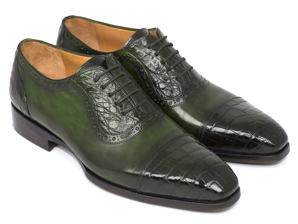 Paul Parkman Men's Green Genuine Crocodile & Calfskin Oxfords (ID#CR244GRN)