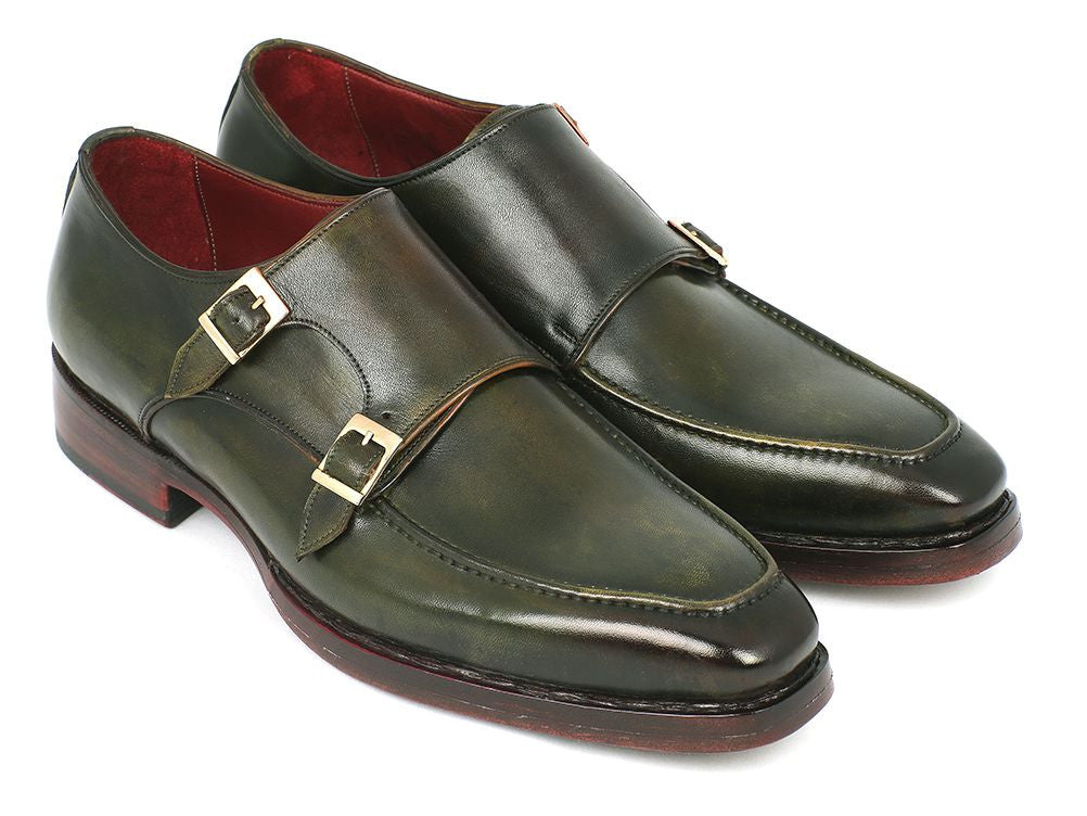 Paul Parkman Men's Double Monkstrap Goodyear Welted Shoes Green (ID#061-GREEN)